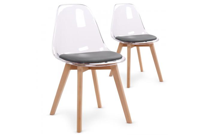 lot de 2 chaises scandinaves transparentes et coussin gris sully - Chaises Scandinaves Transparentes
