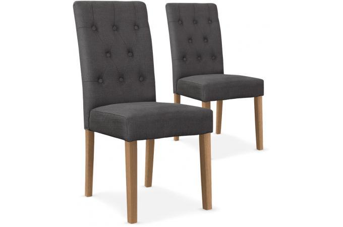 lot de 2 chaises capitonn e tissu gris grape design sur sofactory. Black Bedroom Furniture Sets. Home Design Ideas