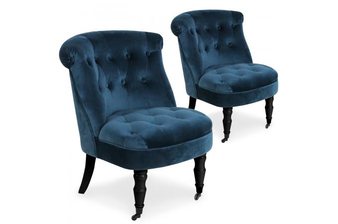 lot de 2 fauteuils crapauds velours bleu matam design sur. Black Bedroom Furniture Sets. Home Design Ideas