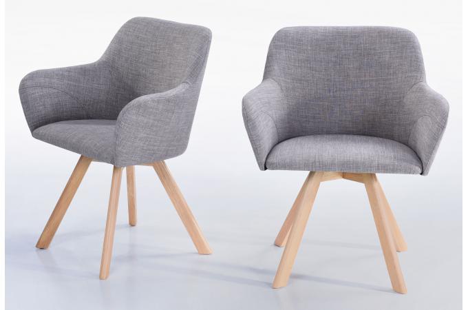 Lot De Fauteuils Scandinave Tissu Gris KIRSTEN Design Sur SoFactory - Fauteuil en tissu pas cher