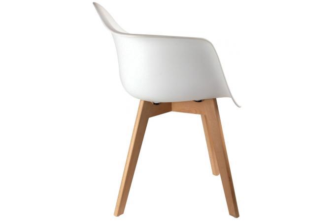 Lot de 2 chaises scandinaves avec accoudoir blanches for Chaises scandinaves blanches