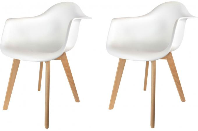 Lot De 2 Chaises Scandinaves Avec Accoudoir Blanches Norway Design