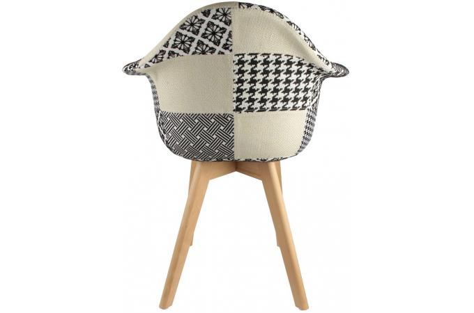 Lot De 2 Chaises Scandinaves Avec Accoudoir Patchwork Bicolores