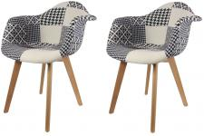 Lot de 2 chaises scandinaves avec accoudoir patchwork bicolores NORWAY Sofactory