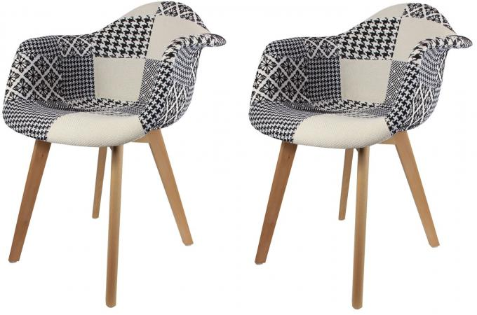 lot de 2 chaises scandinaves avec accoudoir patchwork bicolores norway - Chaise Fauteuil Scandinave