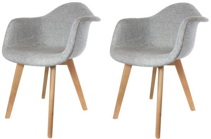lot de 2 chaises scandinaves avec accoudoir tissu grises norway - Chaise Accoudoir Scandinave