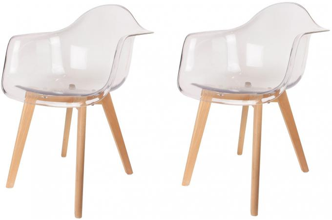 Lot De 2 Chaises Scandinaves Avec Accoudoir Transparentes NORWAY