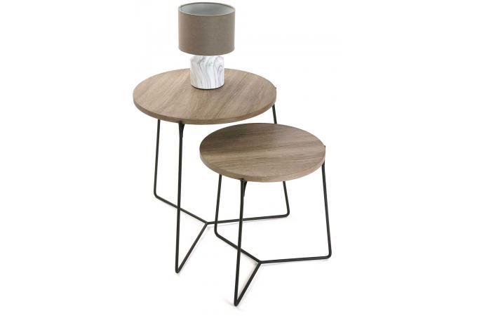 Lot De 2 Tables D 39 Appoint Rondes Bois M Tal Marlin Design Sur Sofactory