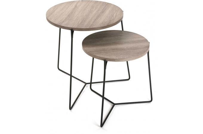 lot de 2 tables dappoint rondes bois mtal marlin - Table D Appoint Ronde