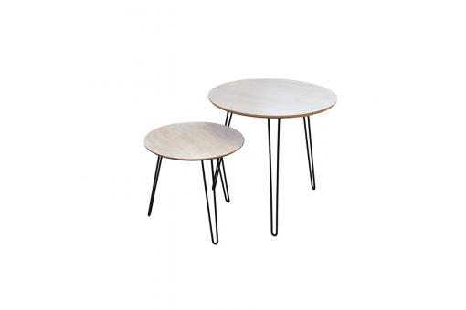 Lot de 2 tables gigognes beiges SOMI Beige Zo235764-0000