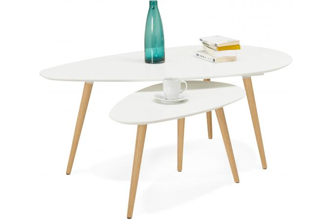 Ensemble De Deux Tables Gigognes Scandinaves Blanches Valiha Design