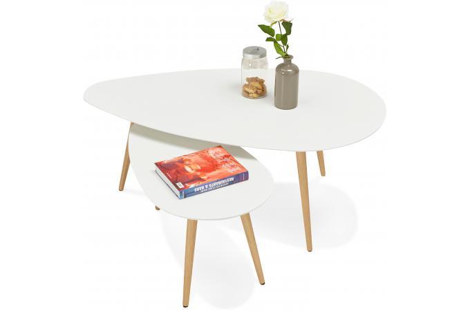 Ensemble De Deux Tables Gigognes Scandinaves Blanches Valiha Design