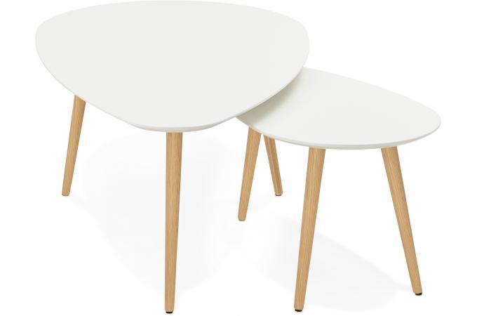 la meilleure attitude 46370 afbed Ensemble de deux tables gigognes scandinaves blanches VALIHA ...