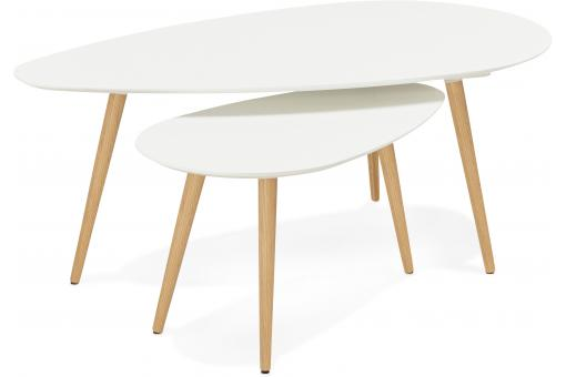 Ensemble de deux tables gigognes scandinaves blanches VALIHA SoFactory
