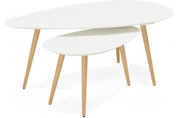 Table Basse Scandinave Gigogne.Ensemble De Deux Tables Gigognes Scandinaves Blanches Valiha