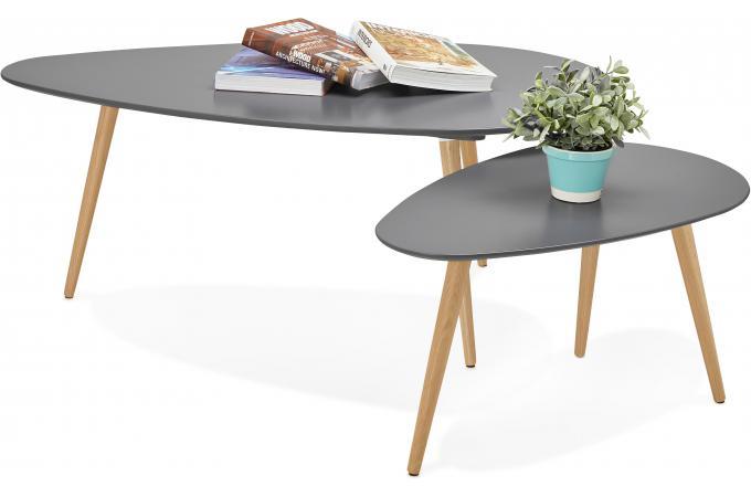 ensemble de deux tables gigognes scandinaves grises valiha. Black Bedroom Furniture Sets. Home Design Ideas