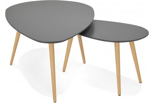 Ensemble de deux tables gigognes scandinaves grises VALIHA KO189742-0000