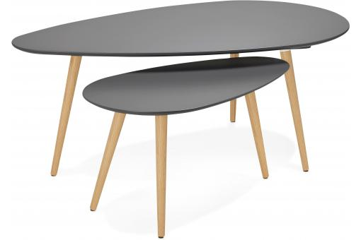 Ensemble de deux tables gigognes scandinaves grises VALIHA SoFactory