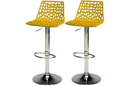 lot de 2 tabourets de bar ajustables jaune smart design. Black Bedroom Furniture Sets. Home Design Ideas