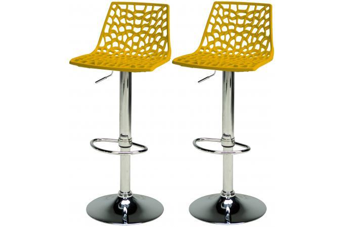 lot de 2 tabourets de bar ajustables jaune smart design sur sofactory. Black Bedroom Furniture Sets. Home Design Ideas