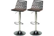 Lot De 2 Tabourets De Bar Ajustables Marron SMART Sofactory