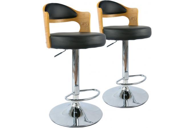 lot de 2 tabourets de bar ch ne clair et noir newark design sur sofactory. Black Bedroom Furniture Sets. Home Design Ideas