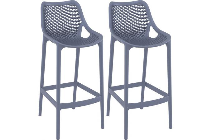 Lot de 2 Tabourets de bar design gris anthracite ABIGAEL