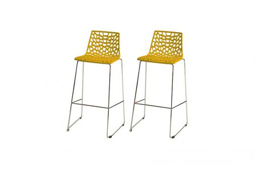 Lot de 2 Tabourets de Bar Design Jaune GURU
