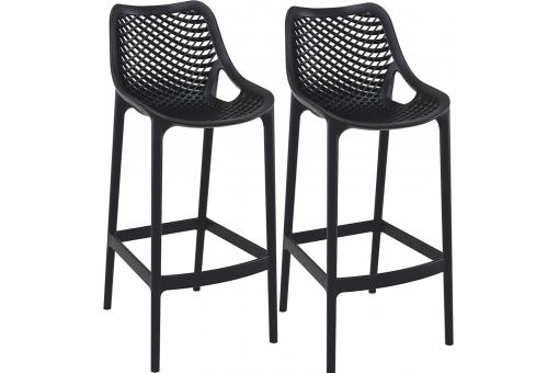 Lot de 2 Tabourets de bar design Noirs ABIGAEL
