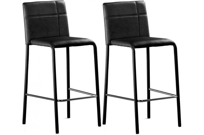 lot de 2 tabourets de bar noir prince design sur sofactory. Black Bedroom Furniture Sets. Home Design Ideas