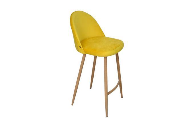 Lot de 2 tabourets de bar velours jaune thildama design - Tabouret de bar jaune ...