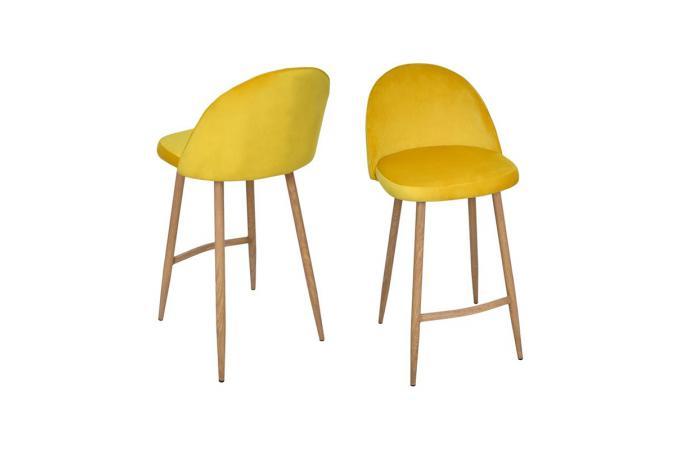 Lot de 2 tabourets de bar velours jaune thildama design - Tabouret de cuisine design jaune ...