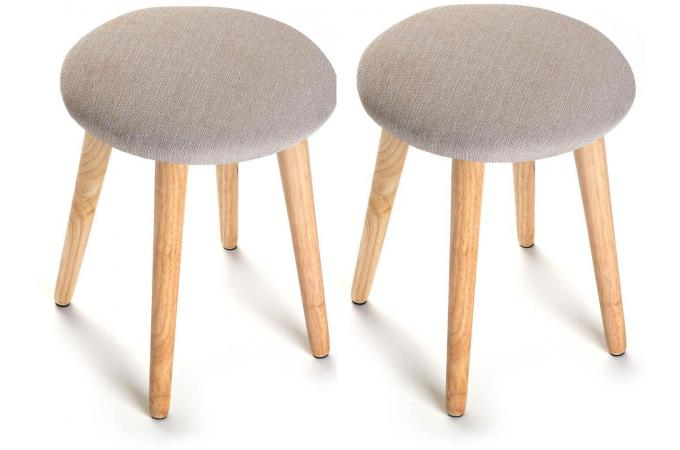 Lot de 2 Tabourets scandinaves ronds crème PASTEL
