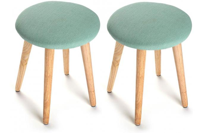 Lot de 2 Tabourets scandinaves ronds vert PASTEL