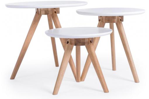 Lot de 3 Tables Basses Style Scandinave Blanches TRIO