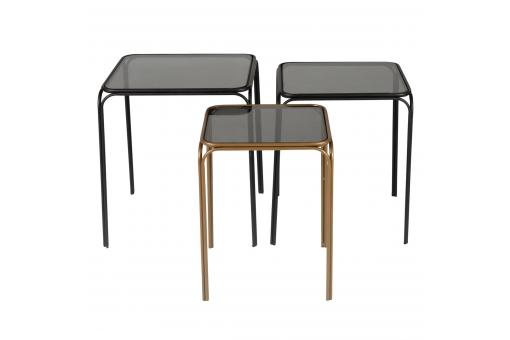 Lot de 3 Tables Gigognes Laiton Noir ENOR PR308007-0000