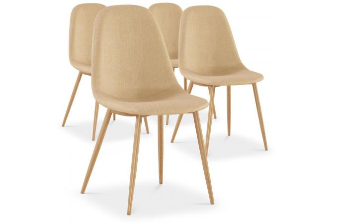 Lot de 4 chaises beiges KAUVA