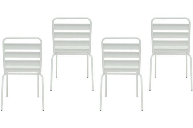 Lot De 4 Chaises Extrieur Mtal Blanc ERMES