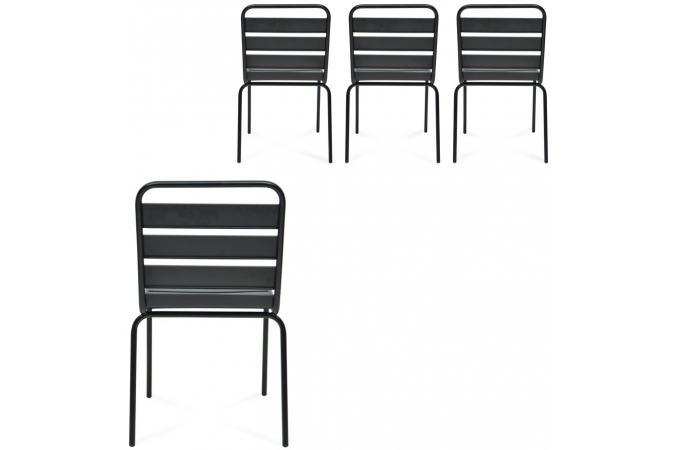 Lot De 4 Chaises Extrieur Mtal Noir ERMES