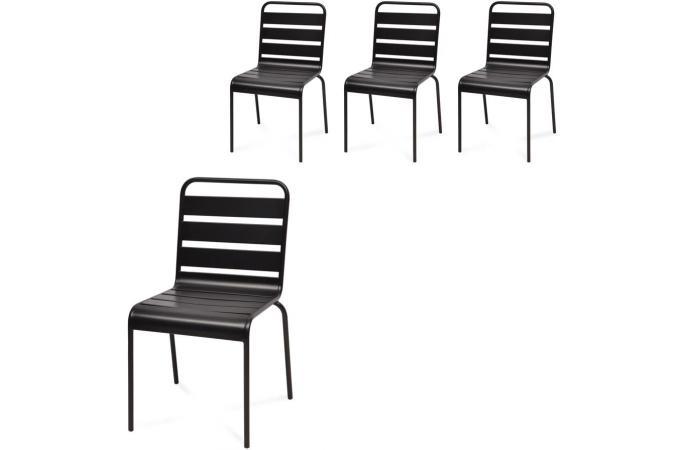 Lot de 4 chaises extérieur métal noir ermes