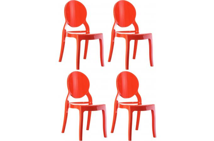 Lot de 4 chaises plexi rouge ELIZABETH