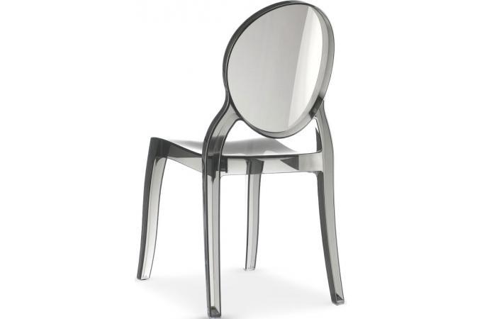 lot de 4 chaises médaillon plexi transparent fumé elizabeth design ... - Chaise Medaillon Pas Cher