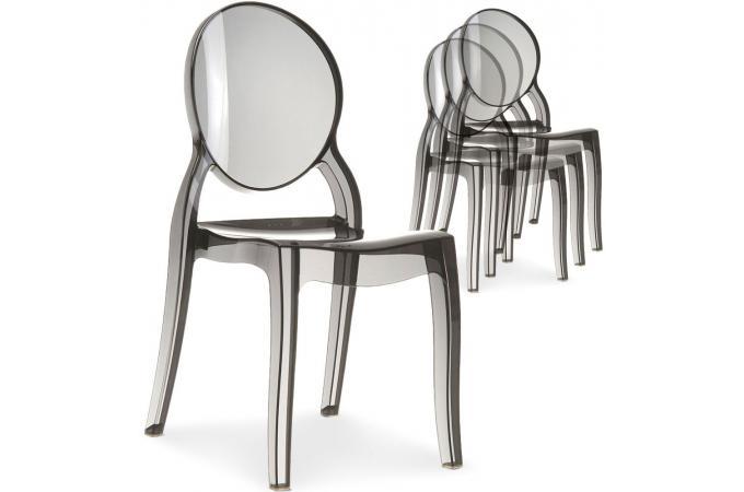 ELIZABETH Lot médaillon de Fumé Plexi chaises Transparent 4 EYWIDbeH29