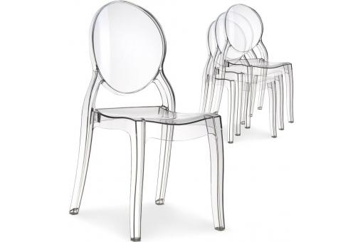 Lot de 4 chaises médaillon Plexi Transparent ELIZABETH