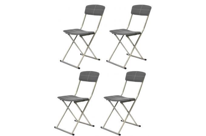 lot de 4 chaises pliables gris fonc sigur - Chaises Pliables