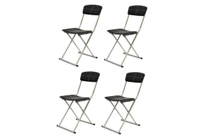 Lot de 4 chaises pliables noires sigur design sur sofactory for Chaises pliables