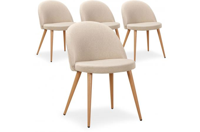 Lot de 4 chaises scandinaves beige dercy design sur sofactory for Lot 4 chaises scandinaves