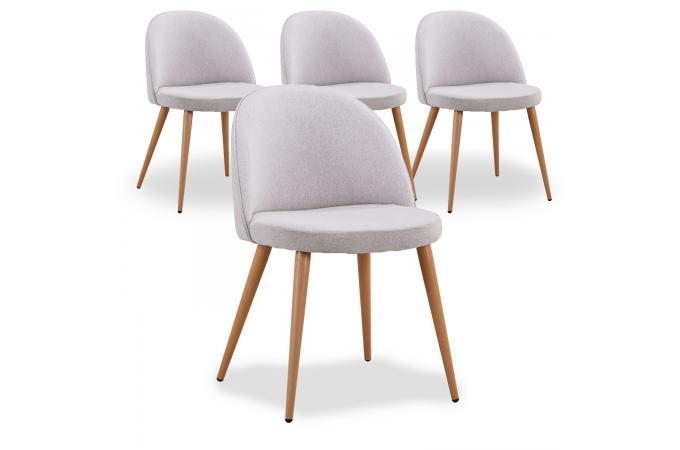 lot de 4 chaises scandinaves en tissu gris dercy - Chaises Scandinave Pas Cher