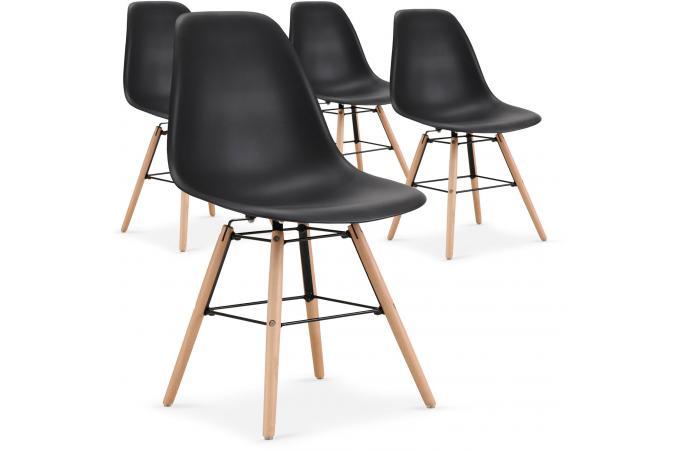 lot de 4 chaises scandinaves noires esteban design sur sofactory. Black Bedroom Furniture Sets. Home Design Ideas