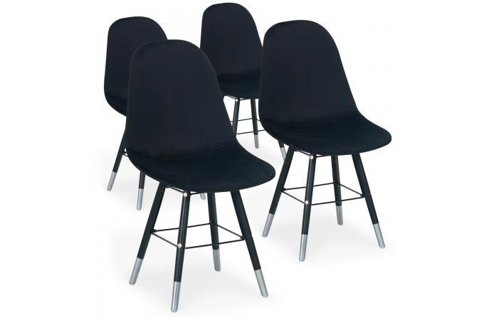 Scandinaves Navajos Noir Velours Sofactory Chaises Lot De Design Sur 4 Xn0Z8OkPNw